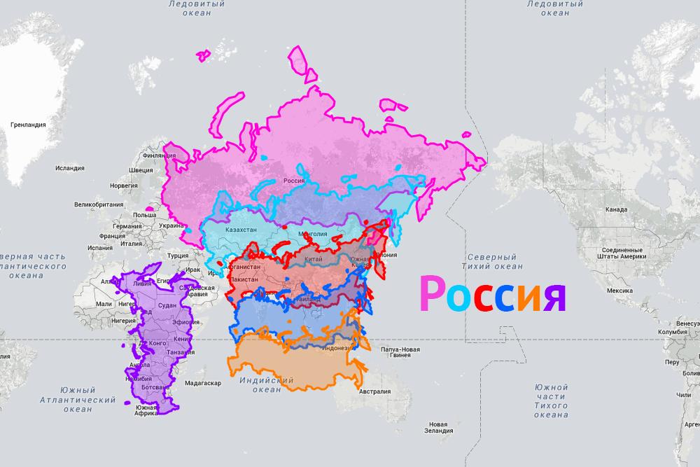 Сравнение России с Россией на экваторе